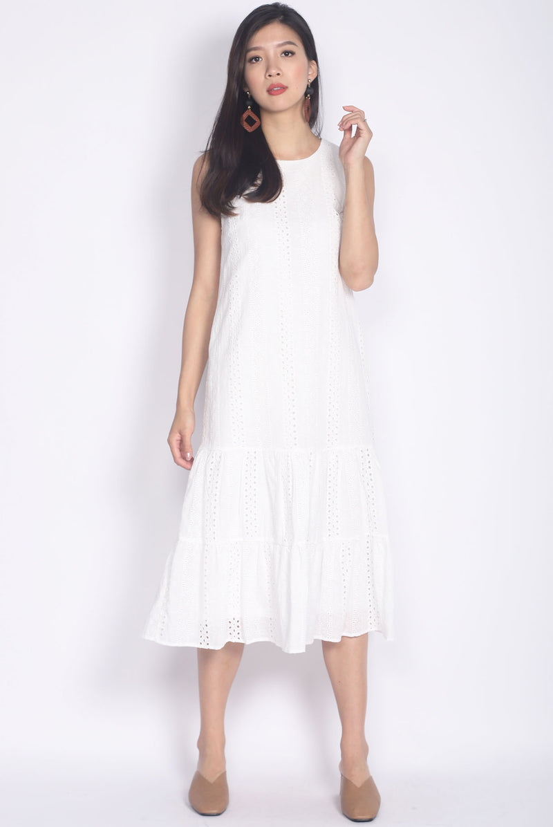 Bobbette Eyelet Midi Dress In White