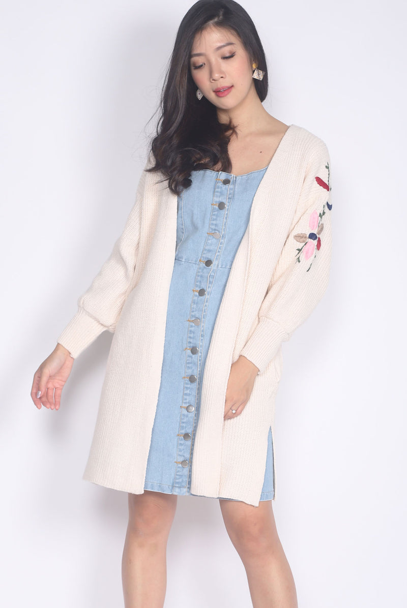 *Backorder* Bobby Embriodery Knit Cardigan In Cream