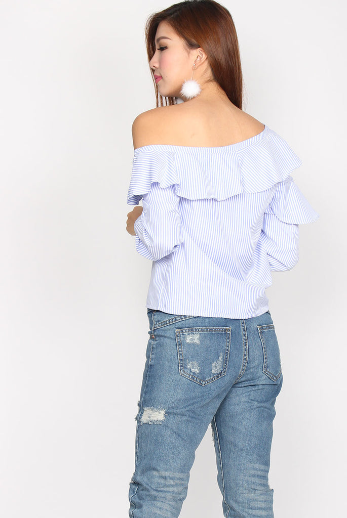 Boheme Stripes Frill Sleeve Top In Light Blue