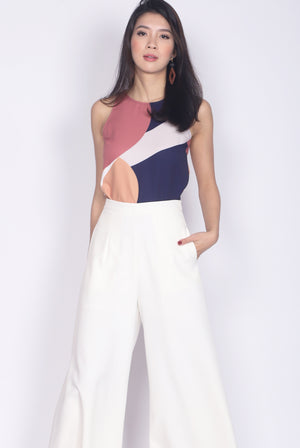 *Backorder* Bonelle Abstract Top In Navy Blue