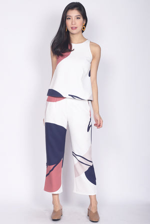 *Backorder* Adabelle Abstract Pants In White