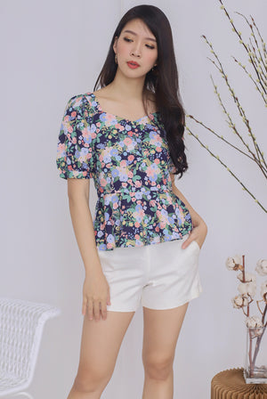 Bonita Floral Peplum Top In Navy Blue