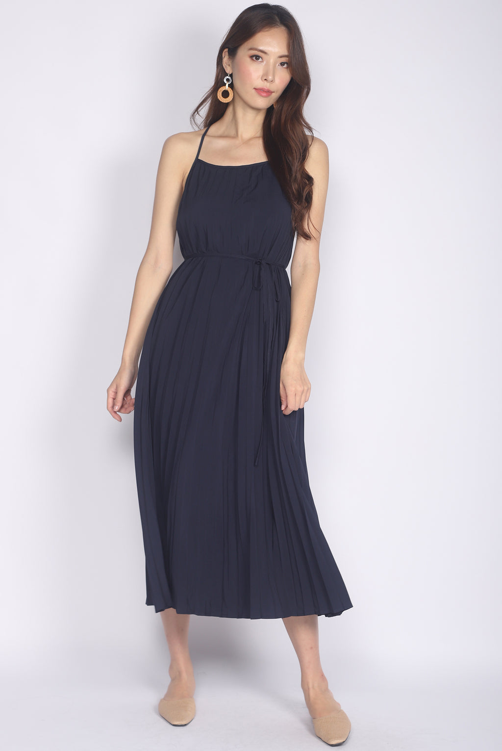 *Restocked* Bowie Pleated 2 Ways Dress In Navy Blue