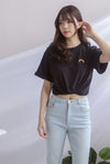 Boyfriend Tee Top In Black Rainbow