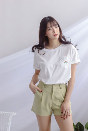 Boyfriend Tee Top In White Rainbow