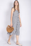 Brandie Ruffle Sleeve Buttons Midi Dress In Grey Stripes