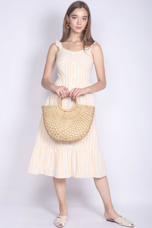 Brandie Ruffle Sleeve Buttons Midi Dress In Yellow Stripes