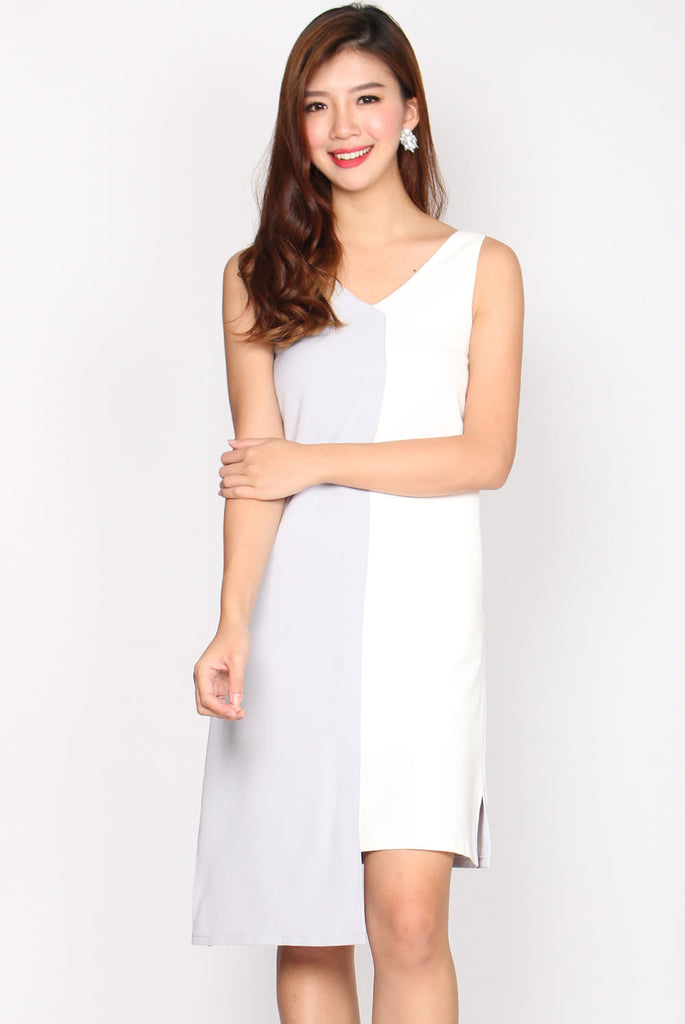 *Premium* Brando Contrast Asymm Shift Dress In Grey