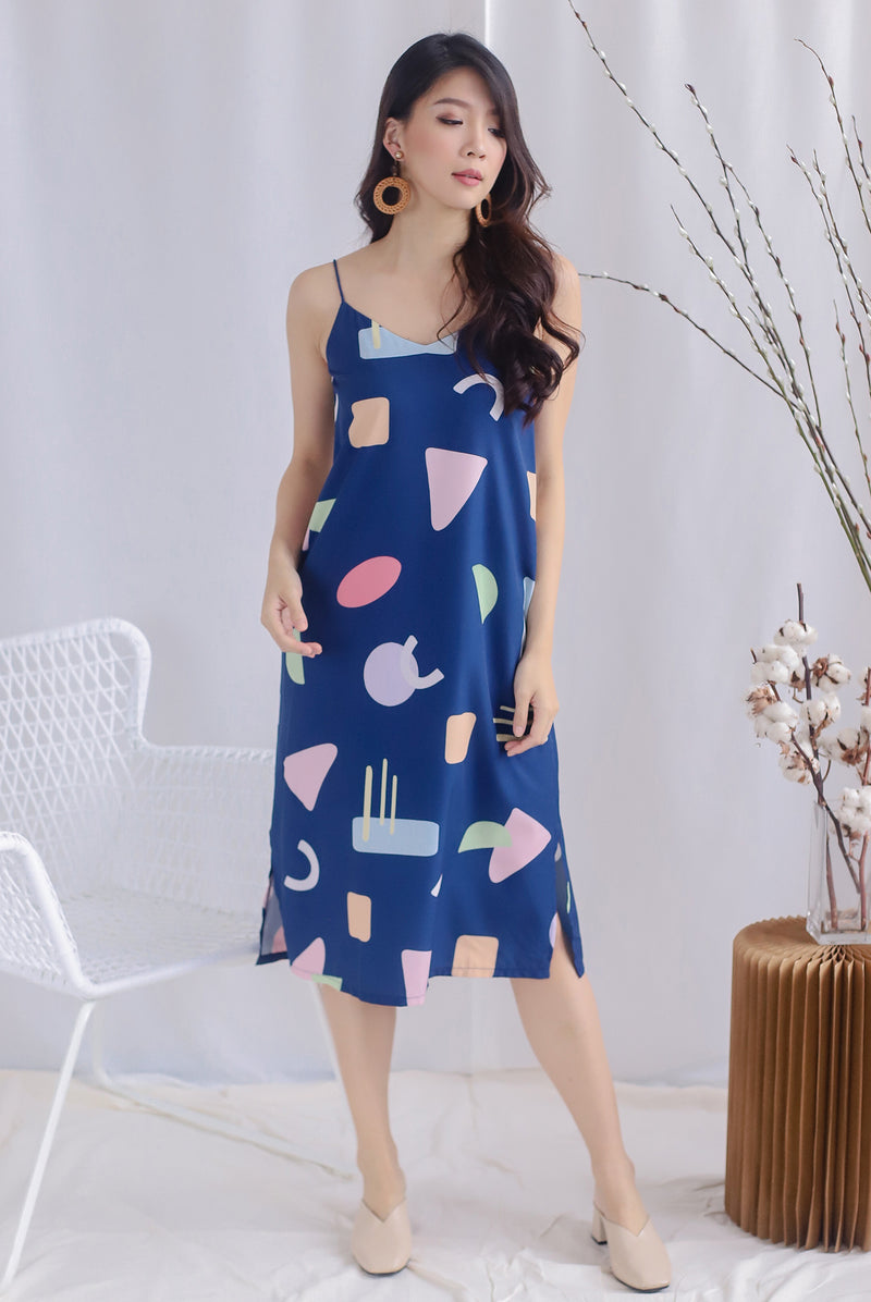 Breana Abstract 2 Way Slip Dress In Navy Blue
