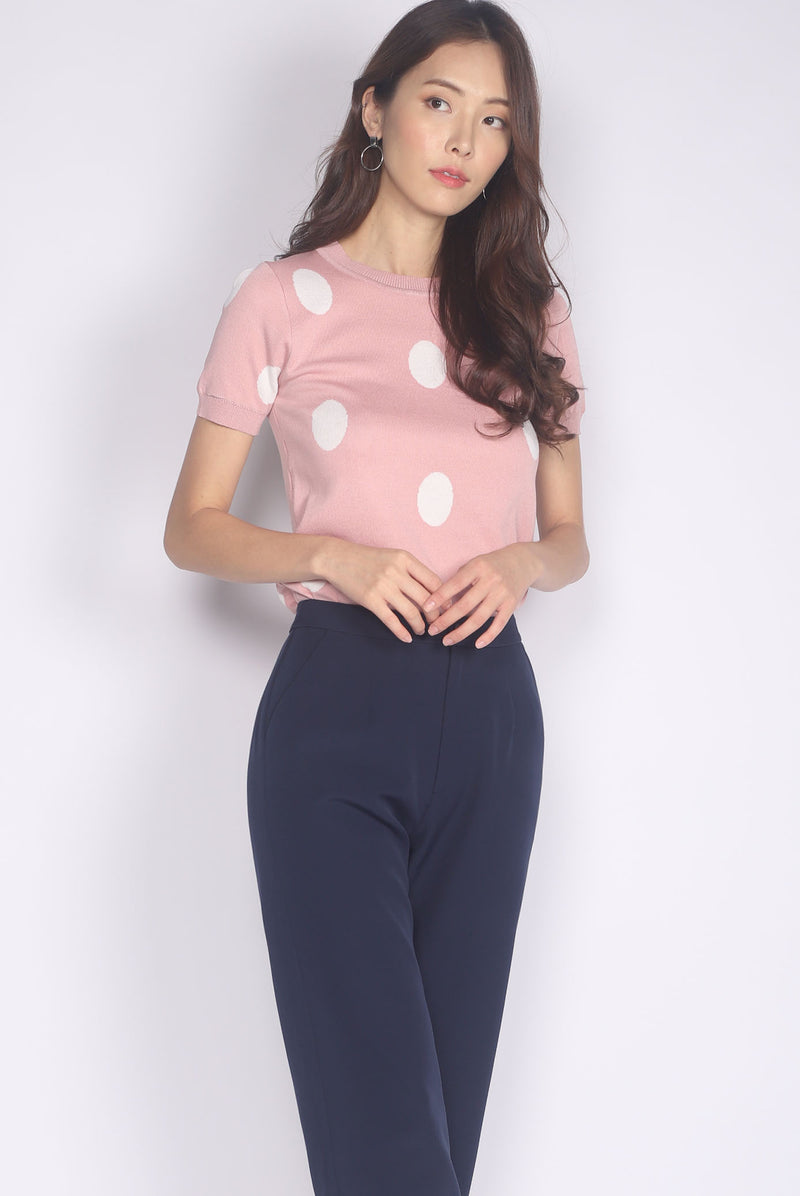 Breeze Polkadot Knit Top In Pink