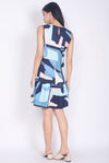 Brianna Abstract Drop Waist Dress In Navy Blue