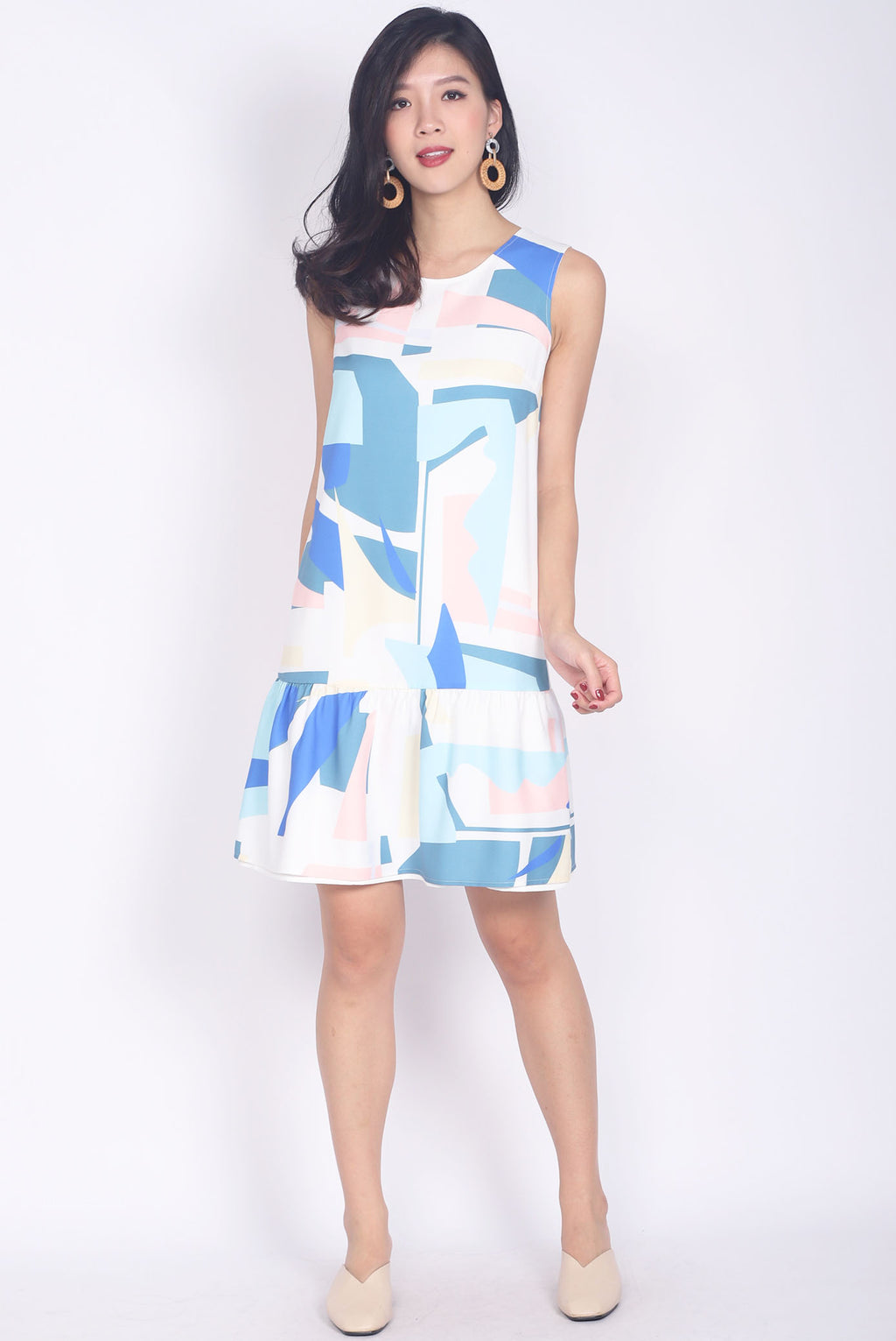 Brianna Abstract Drop Waist Dress In White