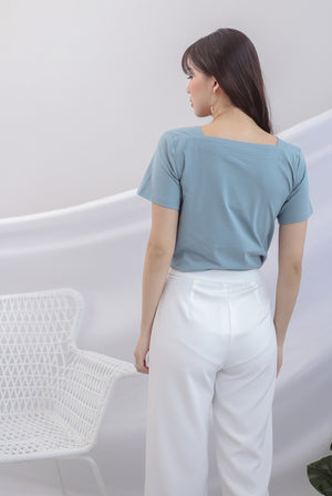 Briella Boat Neck Sleeve Top In Seasalt Blue