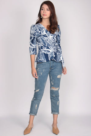 Brielle Puffy Sleeve Wrap Top In Leafy Navy