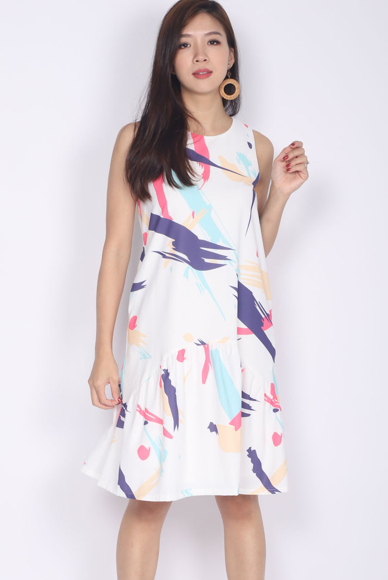*Restocked* Brista Colourful Brush Curve Hem Dress In Pink