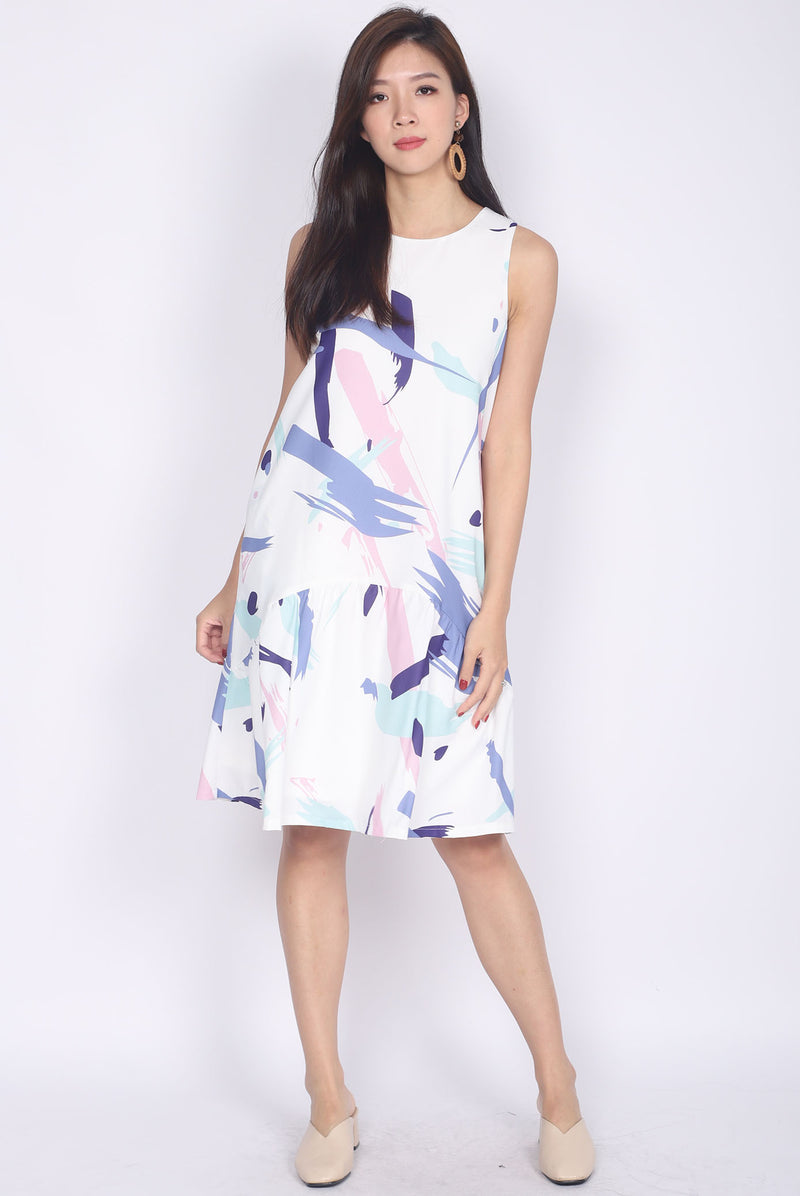 Brista Colourful Brush Curve Hem Dress In Purple