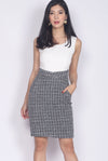 *Restock* Brittlan Paperbag Tweed Dress In White