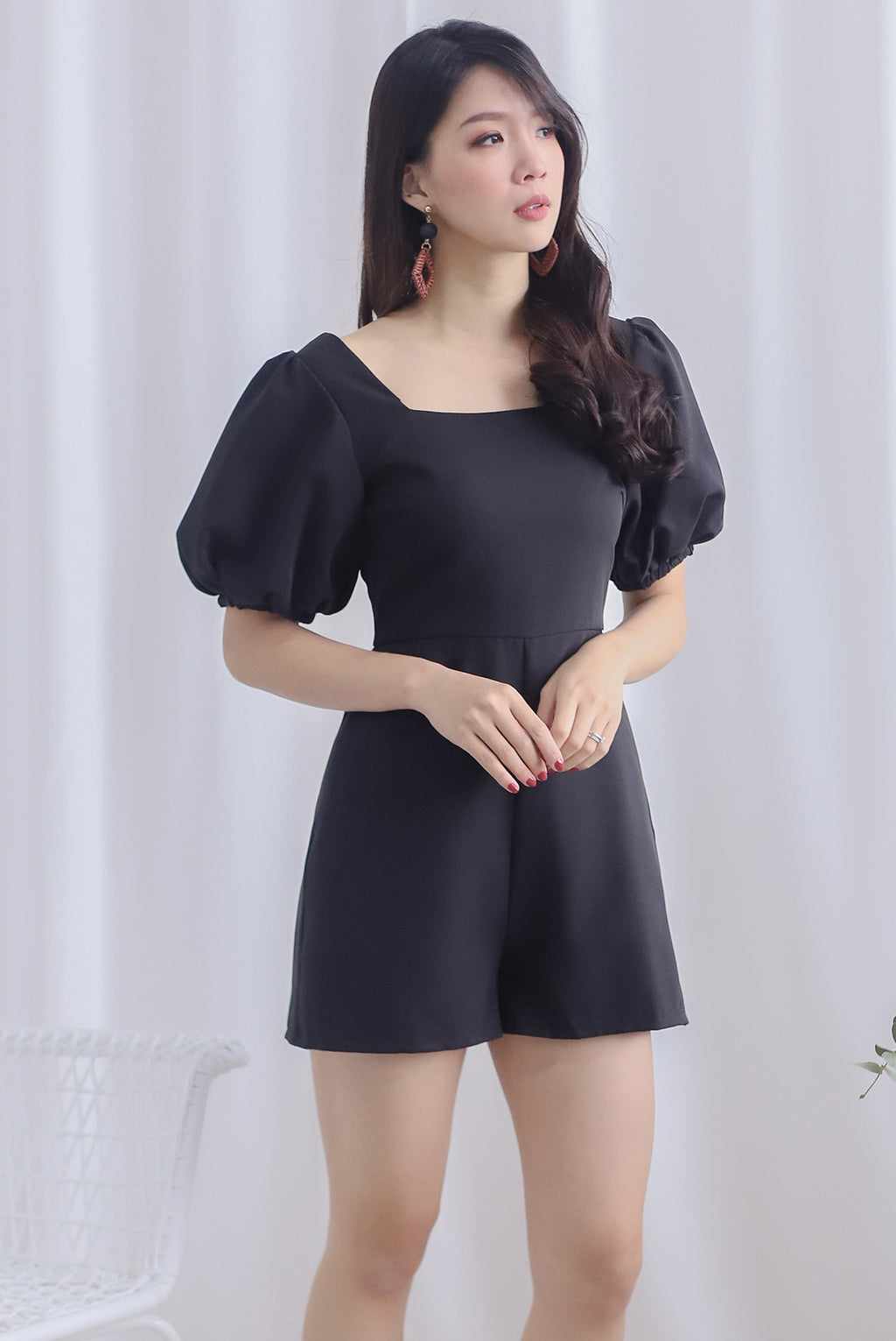 *Backorder* Brogen Puffy Sleeve Romper In Black