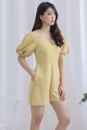 *Backorder* Brogen Puffy Sleeve Romper In Mustard