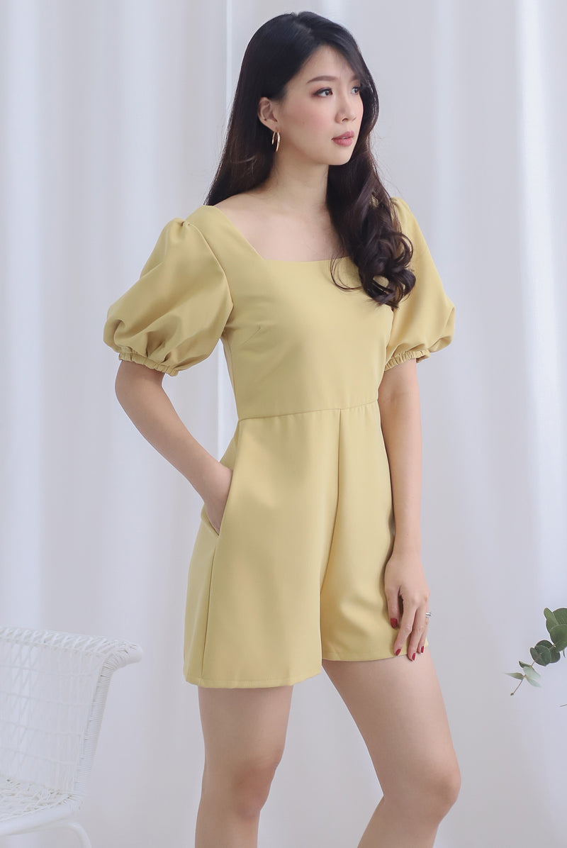 Brogen Puffy Sleeve Romper In Mustard