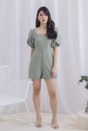 Brogen Puffy Sleeve Romper In Sage
