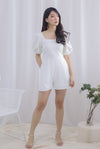Brogen Puffy Sleeve Romper In White
