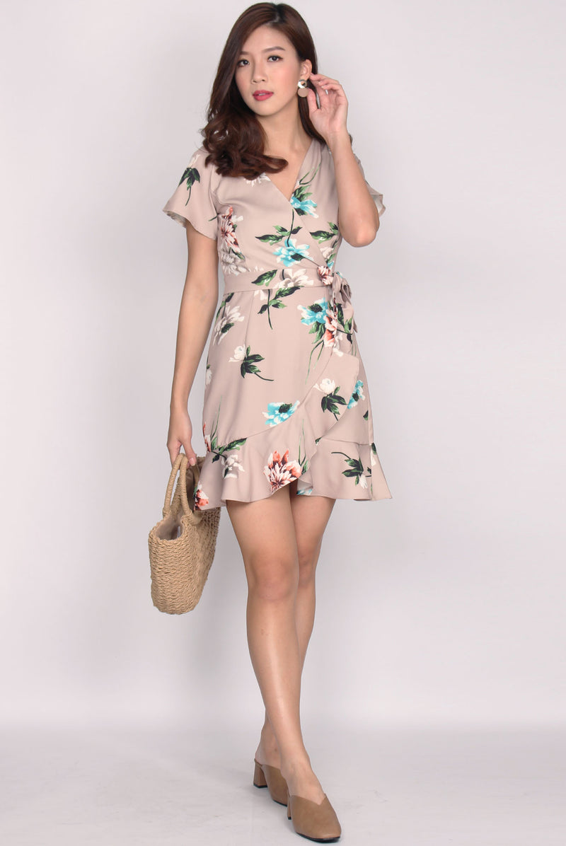 Bronwen Floral Frill Faux Wrap Dress In Nude