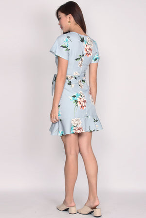 Bronwen Floral Frill Faux Wrap Dress In Skyblue
