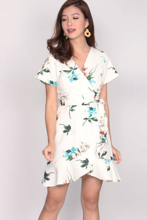 Bronwen Floral Frill Faux Wrap Dress In White