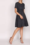 Brooke Multi Ways Sash Swing Dress In Navy Grid