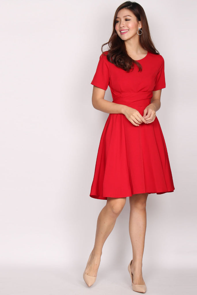 Brooke Multi Ways Sash Swing Dress In Red