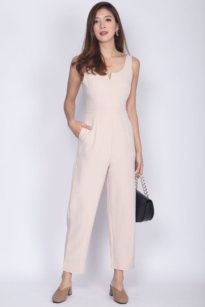 Brookley V Neck Jumpsuit In Wheat