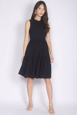 Browyn High Neck Tiered Dress In Black