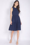 Browyn High Neck Tiered Dress In Navy Blue