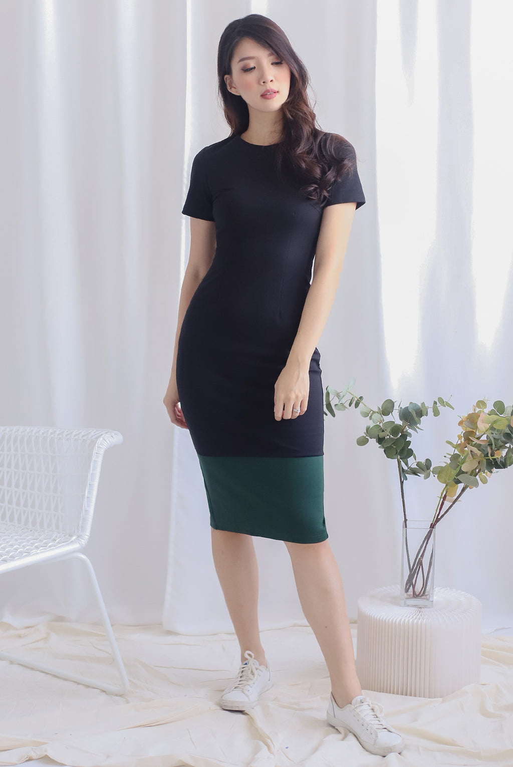 *Restocked* Bruna Contrast Sleeve Pencil Dress In Black