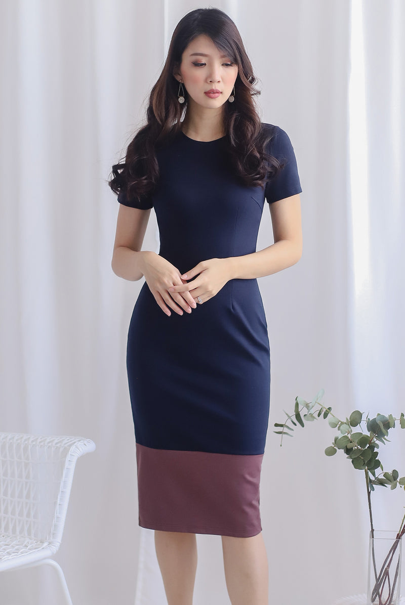 Bruna Contrast Sleeve Pencil Dress In Navy Blue