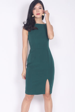 Brynlee Slit Front Pencil Dress In Forest Green