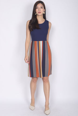 Brystal Multi Colour Pleated Dress In Navy Blue