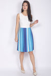 Brystal Multi Colour Pleated Dress In White
