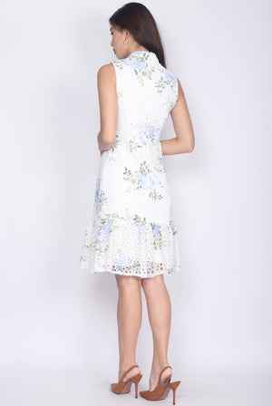Cadrian Floral Painted Crochet Cheong Sam Dress In Blue