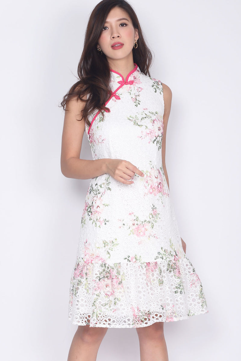 Cadrian Floral Painted Crochet Cheong Sam Dress In Pink