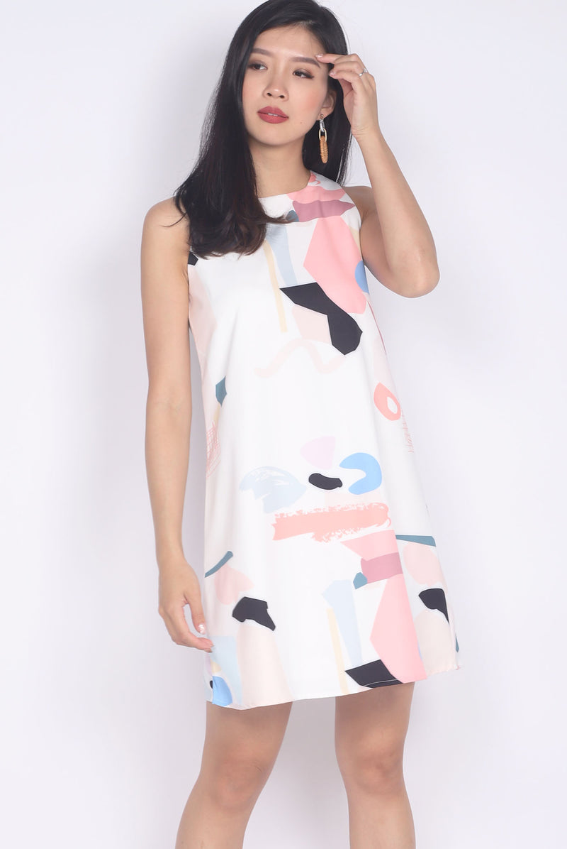 Cailin Abstract Dress In White