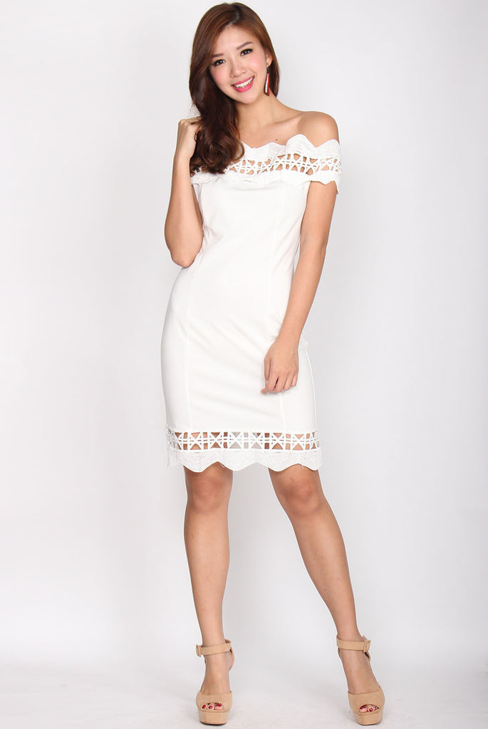 Caitlyn Crochet Bodycon Dress In White