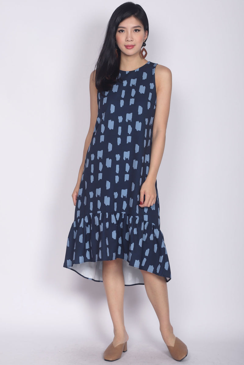 Calandra Hi-low Brush Midi Dress In Navy/Blue