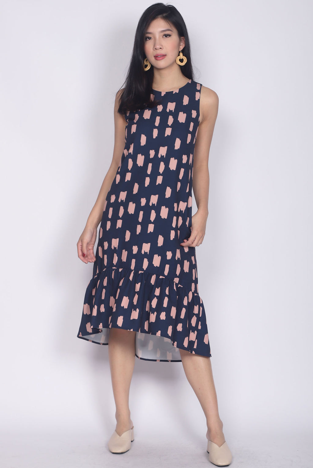 Calandra Hi-low Brush Midi Dress In Navy/Pink