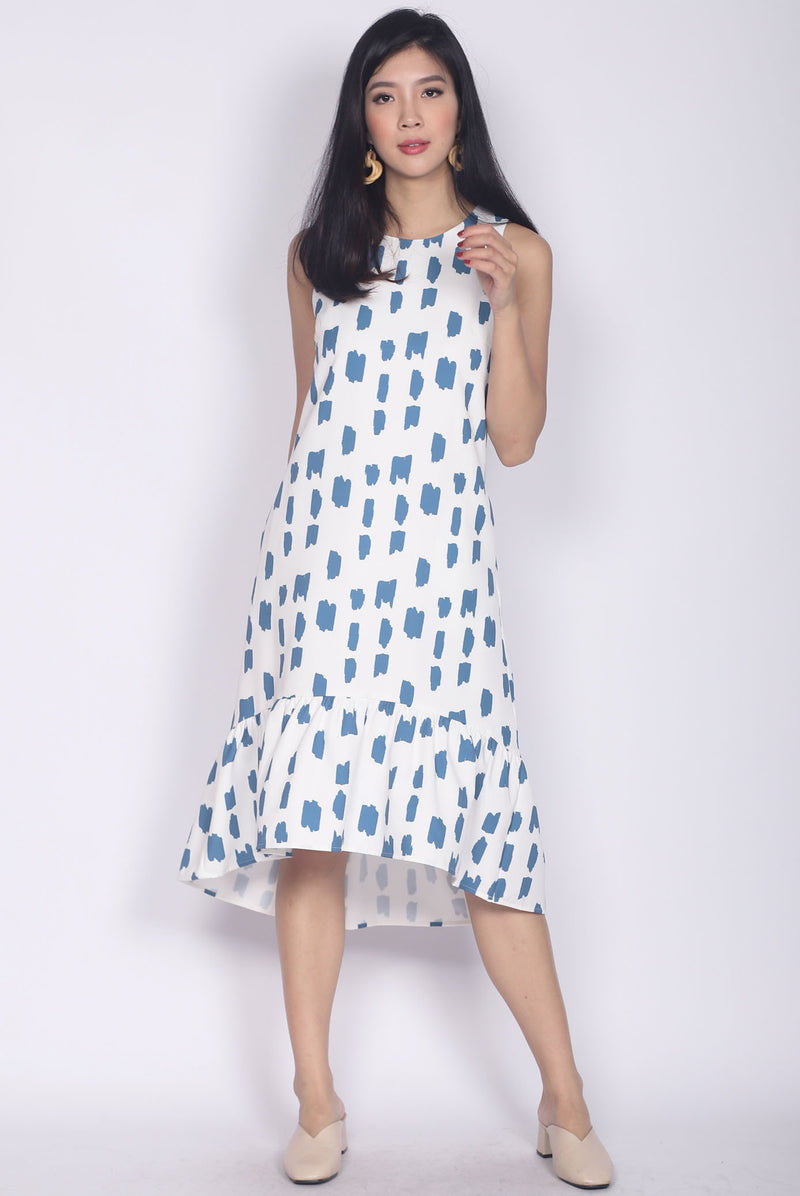 Calandra Hi-low Brush Midi Dress In White/Blue