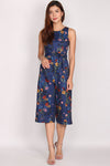 Calantha Sash Jumpsuit In Navy Blue