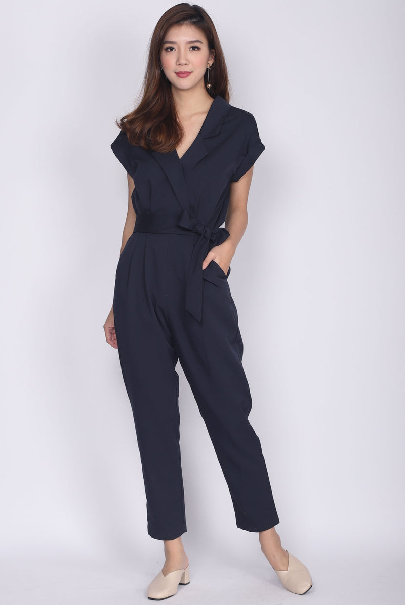 *Restock* Caledonia Shirt Jumpsuit In Navy Blue