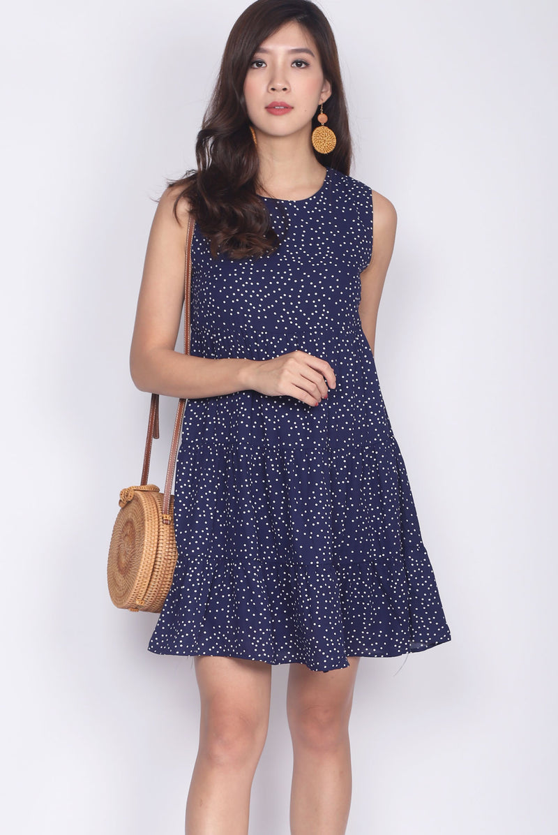 Calleo Tiered Babydoll Dress In Navy Dots