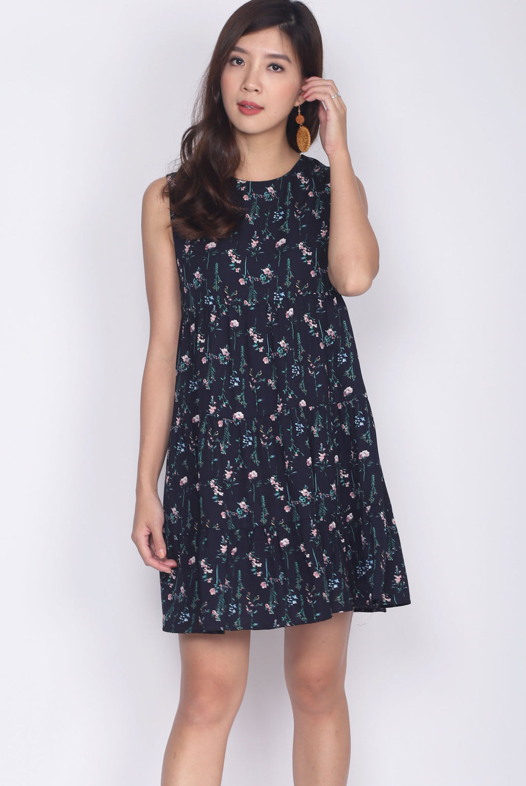 Calleo Tiered Babydoll Dress In Floral
